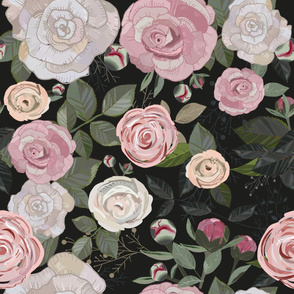 Peony-and-rose-pattern-black-background
