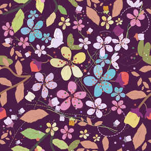 Plum flowers and colorful pattern