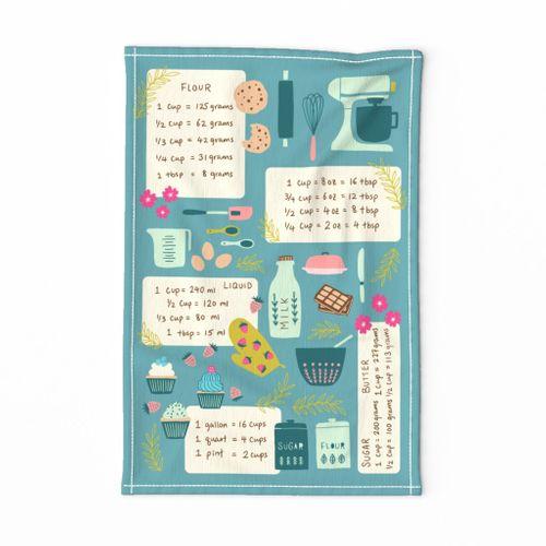 Kitchen Cheat Sheet Tea Towel