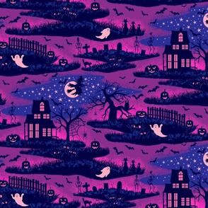 Magical Halloween Night - Mystic Violet - medium scale