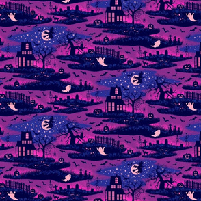 Magical Halloween Night - Mystic Violet - small scale