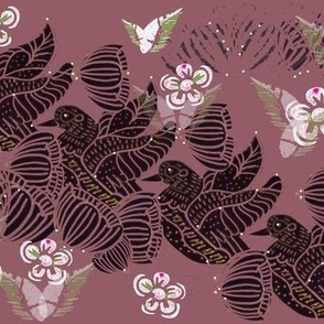 Art Deco Block Print Flying Ducks With Daisies On Dusky Pink