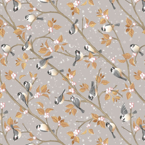 Chickadees in Snowberries and Snowflakes Tea Towel Orientation