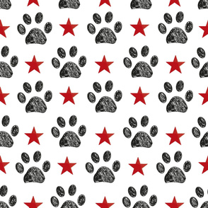 Doodle paw print and red shining star seamless fabric design repeated pattern