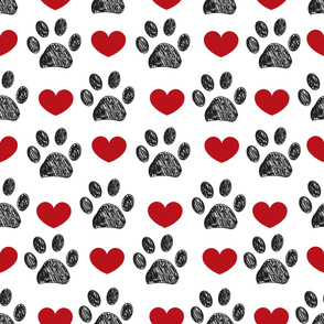 Doodle paw print and red hearts seamless fabric design repeated pattern