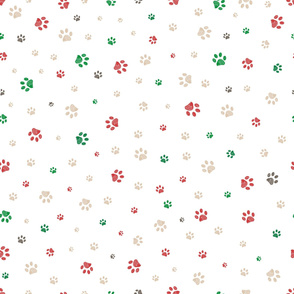 Trace doodle paw prints seamless pattern background with christmas new years background