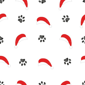 Santa Claus hat and doodle paw prints. Happy new year and Merry Christmas seamless pattern background