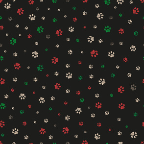 Trace doodle paw prints seamless pattern background with Christmas new years black background