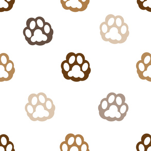Cat hand print brown paw print for fabric design vector pattern