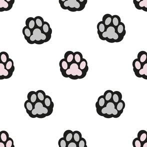 Cat hand print paw print for fabric design vector pattern