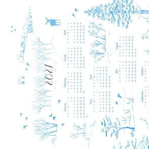 Winter Birds Tea Towel Calendar in Ice Blue | Pencil sketch Scandinavian wildlife, hawk owl, moose, ptarmigan and grouse, fabric calendar 2021