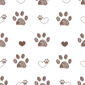 Doodle brown paw prints and hearts vector with white background seamless pattern for fabric