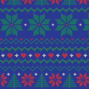 Ugly Xmas Sweater Floral in Brilliant Blue