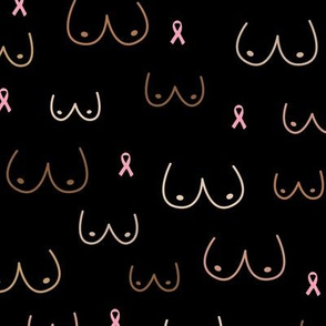 Boobs and ribbons breast cancer awareness month black multi cultural diversity black