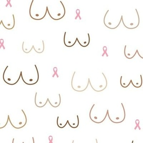 Boobs and ribbons breast cancer awareness month black multi cultural diversity white