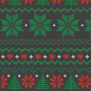 Ugly Xmas Sweater Floral in Charcoal