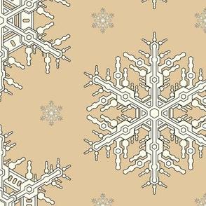 Snowflakes L Camel Off White
