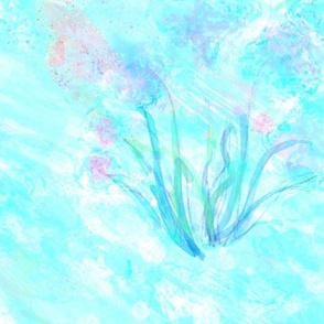 watercolor flowers light blue