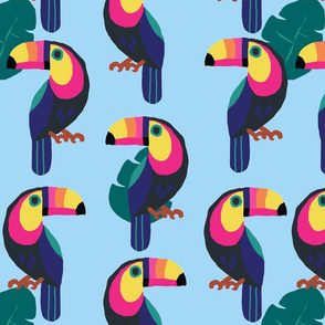 Colorful Toucans- sky blue background