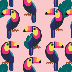 Colorful Toucans- light pinkbackground-ch