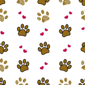 Brown doodle paw print with hearts seamless pattern