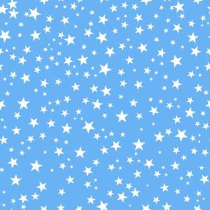 Blue baby shower background. Baby boy baby shower. Shining golden white stars seamless background