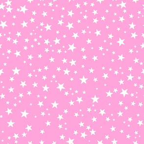 Pink baby shower background. Shining golden white stars seamless background