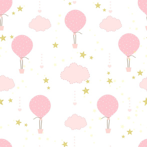 Hot air balloon_ clouds and shining star seamless background pattern for fabric design vector. Children_ baby room_ wallpaper_ baby shower_ birthday greeting card