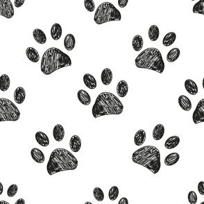 Seamless pattern for textile design. Black and white paw print pattern background
