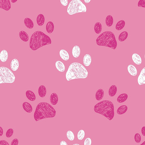 Seamless pattern for textile design. Pink paw print pattern background