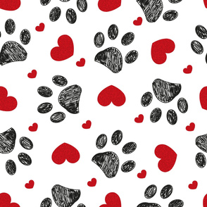 Doodle black paw print with red shining hearts seamless for fabric pattern