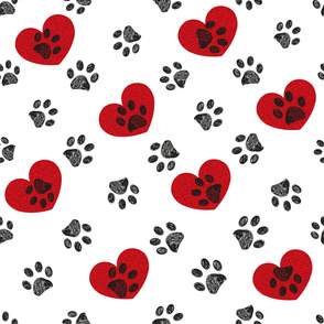 Doodle black paw print seamless pattern