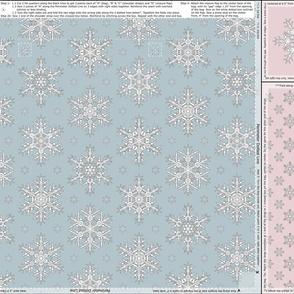 Snowflakes Tote Bag Seafoam Antique Pink