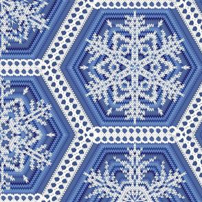 Cozy Knit Hexagons L Blue