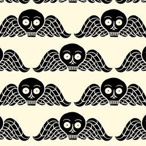 winged skull - black