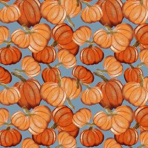 Tossed Pumpkins-Blue Background
