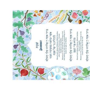 Shabbat Blessings Tea Towel Watercolor with Jewish Holiday Art