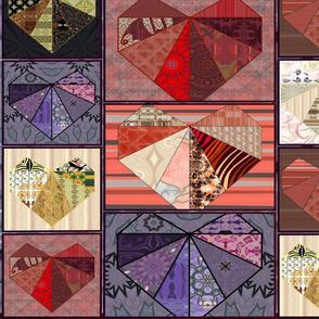 Multi-Color Scrapbook Heart Tile Quilt