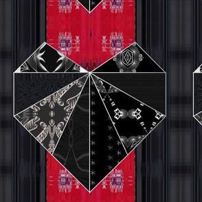 "Red, Black & Red Heart Quilt Tile.  16"""