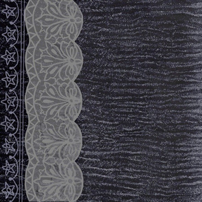 Midnight Blue and Lace Border Print