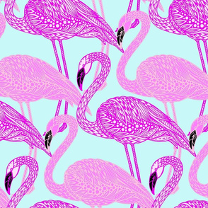 Flamingo pattern pink on pink black beaks