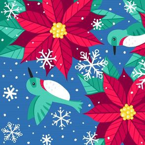 Hummingbirds & Poinsettias Tea Towel