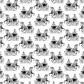Classic Woman with Horse Carriage Black & White Pattern (Mini Scale)