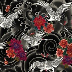 Japanese crane bird print