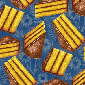 Retro Piece of Cake - Golden Yellow, Chocolate Brown and Textured Blue