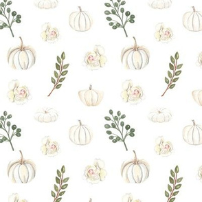 Autumn White flowers and pumpkins