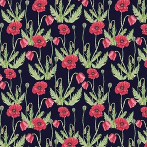 Poppy Flowers Pattern Dark