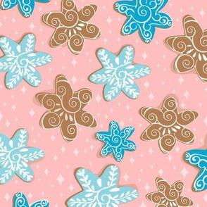 Snowflake gingerbread cookies_pink