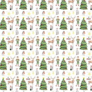 Christmas Animals Pattern White