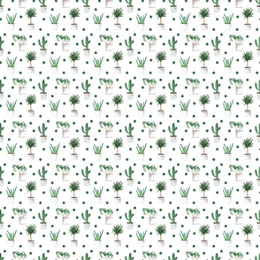 Plants With Dots Pattern On White
